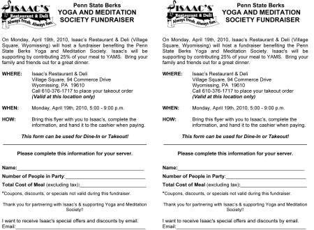 YAMS/Isaacs Fundraiser Flyer